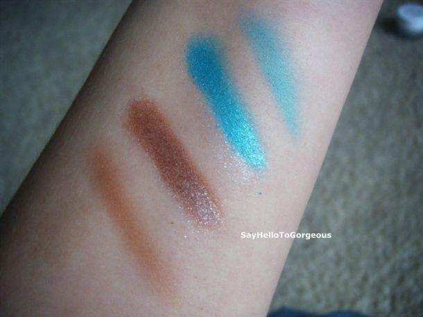 (l to r): eyeshadow alone, eyeshadow + base, eyeshadow + base, eyeshadow alone